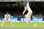 Marnus Labuschagne of Australia fends off a short ball from Jofra Archer of England during the International Test Match 2019 match between England and Australia at Lord's Cricket Ground, St John's Wood, United Kingdom on 18 August 2019.