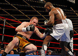 "March 10, 2007 - New York, NY - Peter ""Kid Chocolate"" Quillen knocks out Nathan Martin in the second round of their bout at the Theater at Madison Square Garden in New York City."