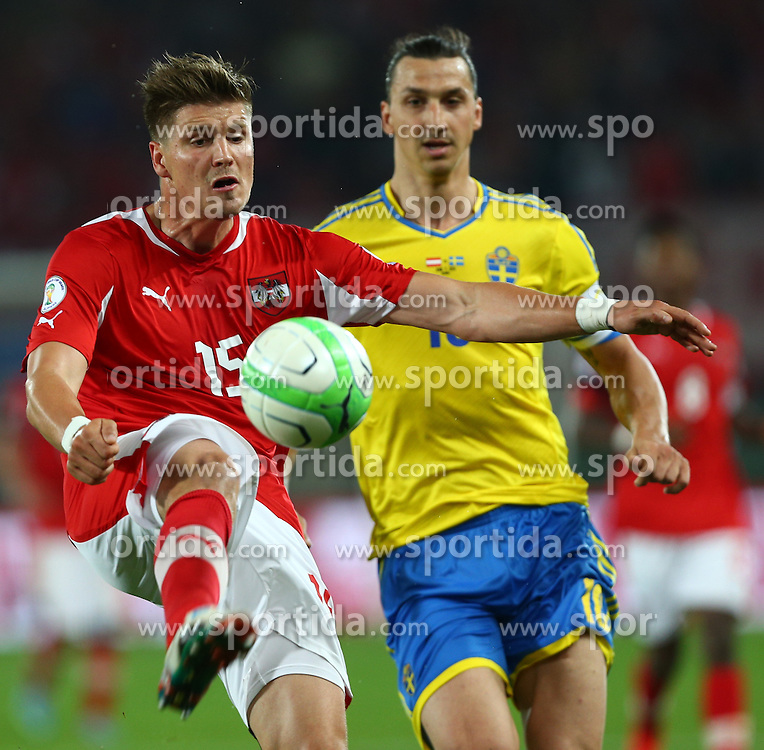 07.06.2013, Ernst Happel Stadion, Wien, AUT, FIFA WM Qualifikation, Oesterreich vs Schweden, im Bild Sebastian Proedl, (AUT, #15) und Zlatan Ibrahimovic, (SWE, #10)  // during the FIFA World Cup Qualifier Match between Austria and Sweden at the Ernst Happel Stadium, Vienna, Austria on 2013/06/07. EXPA Pictures © 2013, PhotoCredit: EXPA/ Thomas Haumer