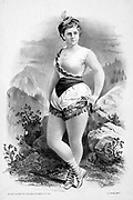 Woman in burlesque costume in front of rocky outcrops c1879.  (poster) : lithograph showing a Burlesque show.