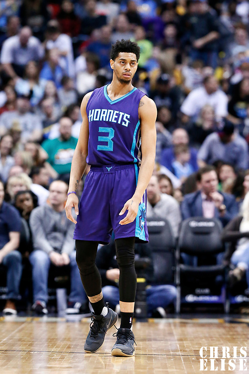 04 March 2017: Charlotte Hornets guard Jeremy Lamb (3) is seen on defense during the Charlotte Hornets 112-102 victory over the Denver Nuggets, at the Pepsi Center, Denver, Colorado, USA.
