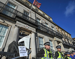 Anti nuclear protesters from Trident Ploughshares Peton Peace Pirates demonstrated outside the US Consulate in Edinburgh on a day of coordinated action involving demonstrations outside embassies and consulates.<br /> <br /> © Dave Johnston/ EEm