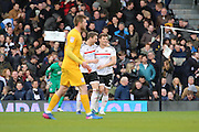 Fulham forward Chris Martin (25) celebrating after scoring with Fulham midfielder Kevin McDonald (06) during the EFL Sky Bet Championship match between Fulham and Preston North End at Craven Cottage, London, England on 4 March 2017. Photo by Matthew Redman.