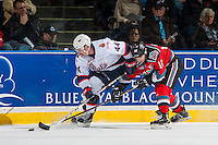 KELOWNA, CANADA - NOVEMBER 26: Connor Hobbs #44 of the Regina Pats is back checked by Nick Merkley #10 of the Kelowna Rockets on November 26, 2016 at Prospera Place in Kelowna, British Columbia, Canada.  (Photo by Marissa Baecker/Shoot the Breeze)  *** Local Caption ***