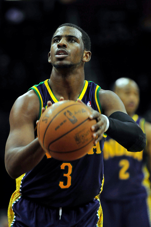 March 6, 2011; Cleveland, OH, USA; New Orleans Hornets point guard Chris Paul (3) shoots a free throw during the first quarter against the Cleveland Cavaliers at Quicken Loans Arena. Mandatory Credit: Jason Miller-US PRESSWIRE