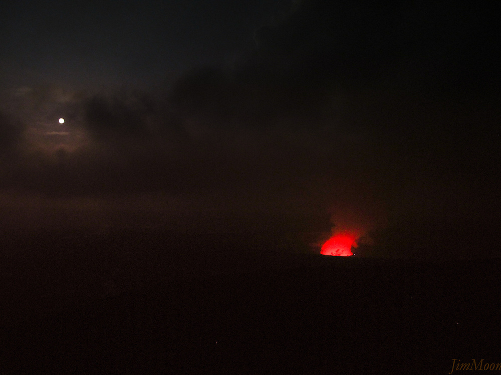 Night shot with a full Moon & Volcanoe vent at Volcanoes National Park in HI