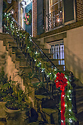 Christmas decorations on a historic home in Savannah, GA.