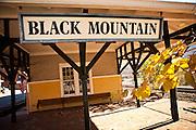 Historic train depot in Black Mountain, North Carolina.