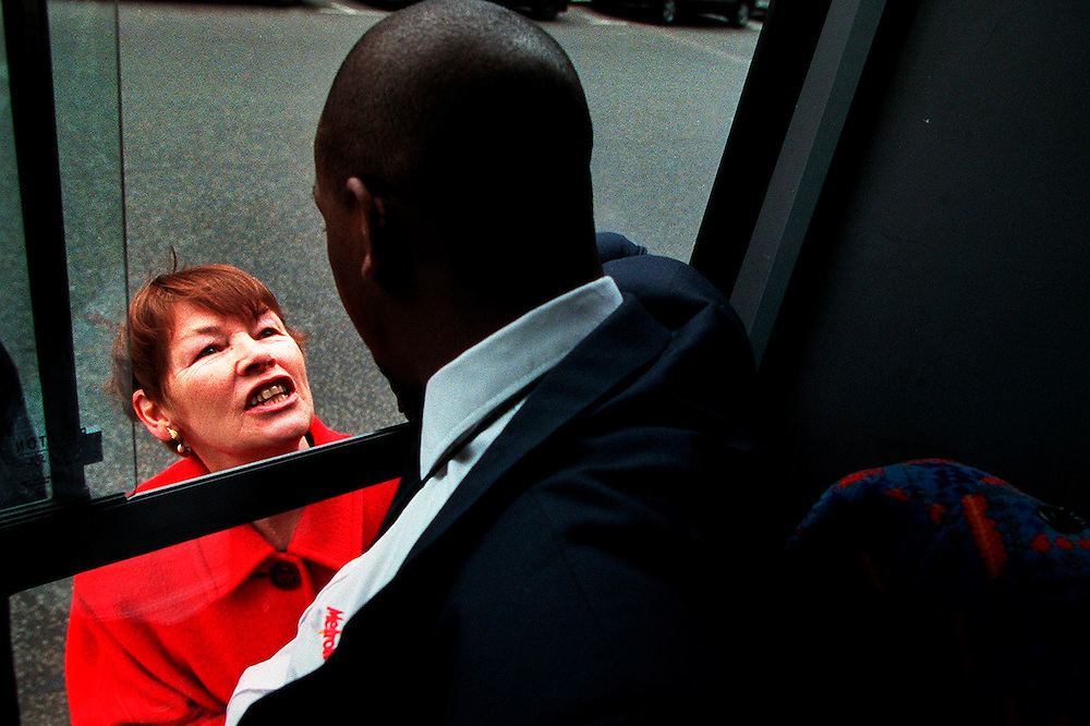 Glenda Jackson MP Transport Minister April 1999 talking to a bus driver