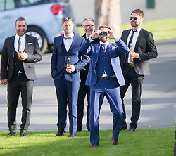 Keith Duffy with camera and Brian McFadden. Ronan Keating wedding to Storm Uechtritz at Archerfield today.