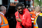 Liverpool defender Kolo Toure arriving at the Barclays Premier League match between Bournemouth and Liverpool at the Goldsands Stadium, Bournemouth, England on 17 April 2016. Photo by Graham Hunt.