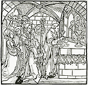 'Women under the influence of the Devil chattering during Mass. Woodcut, Augsburg, 1498.'