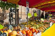 """Rennes, FRANCE. General View GV. Rennes weekly regional market. Brittany,<br /> <br /> """"Fruit, Bananas, Oranges Pineapple, Melon on display"""", sold from stalls in the open and covered market  <br /> <br /> Saturday  26/04/2014 <br /> <br /> © Peter SPURRIER, <br /> <br /> NIKON CORPORATION  NIKON D700  f7.1  1/1000sec  24mm  8.5MB"""