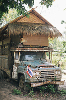 Chiang Mai, Thailand -- May 20, 2017: An old broken down truck that has been converted into a bedroom at the Suan Sati Yoga Retreat in northern Thailand.