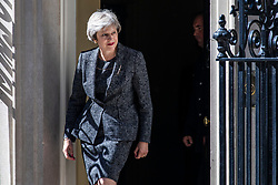 © Licensed to London News Pictures. 26/06/2018. London, UK. Prime Minister Theresa May greets Prime Minister of Greece Alexis Tsipras outside 10 Downing Street.  Photo credit: Rob Pinney/LNP