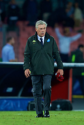 NAPLES, ITALY - Wednesday, October 3, 2018: Napoli's head coach Carlo Ancelotti with the shirt of Liverpool's Mohamed Salah in his hand after the UEFA Champions League Group C match between S.S.C. Napoli and Liverpool FC at Stadio San Paolo. (Pic by David Rawcliffe/Propaganda)
