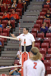 06 November 2015:  Side point call from Felix Madera during an NCAA women's volleyball match between the Bradley Braves and the Illinois State Redbirds at Redbird Arena in Normal IL (Photo by Alan Look)