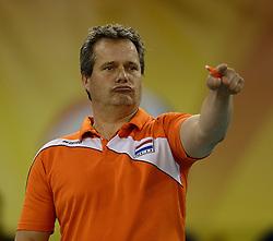 01-06-2014 NED:  Vriendschappelijk Nedeland - Belgie, Eindhoven<br /> Nederland wint met 3-2 van Belgie / Head coach Gido Vermeulen