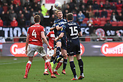 Leeds United defender Luke Ayling wins a header during the EFL Sky Bet Championship match between Bristol City and Leeds United at Ashton Gate, Bristol, England on 9 March 2019.