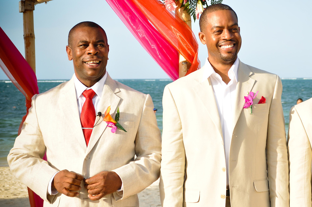 Kirkton & his best man waiting for the ceremony to begin at Iberostar Rose Hall, Montego Bay, Jamaica
