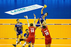 08.01.2016, Max Schmeling Halle, Berlin, GER, CEV Olympia Qualifikation, Frankreich vs Bulgarien, im Bild Angriff Niclas?Marechal (#16, Frankreich/France) // during 2016 CEV Volleyball European Olympic Qualification Match between France and Bulgaria at the  Max Schmeling Halle in Berlin, Germany on 2016/01/08. EXPA Pictures © 2016, PhotoCredit: EXPA/ Eibner-Pressefoto/ Wuechner<br /> <br /> *****ATTENTION - OUT of GER*****