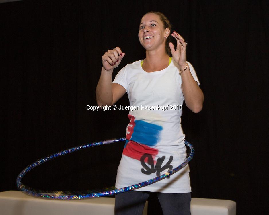 Ladies Linz Players Party, DOMINIKA CIBULKOVA (SVK) mit Hula Hoop Reifen,<br /> <br /> Tennis - Ladies Linz Players Party - WTA -  TipsArena - Linz - Oberoesterreich - Oesterreich  - 10 October 2016. <br /> &copy; Juergen Hasenkopf