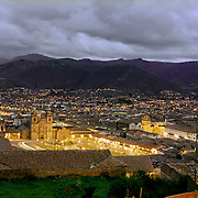 The central plaza of the Peruvian city of Cusco, in the foothills of the Andes mountains