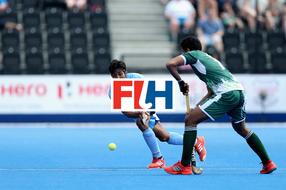 LONDON, ENGLAND - JUNE 18: Pardeep Mor of India passes the ball during the Hero Hockey World League Semi Final match between Pakistan and India at Lee Valley Hockey and Tennis Centre on June 18, 2017 in London, England.  (Photo by Alex Morton/Getty Images)