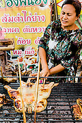 Roadside stall selling Isaan food: som tam (papaya salad) and gai yang (grilled chicken), Udon Thani