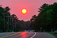 Highway, Flanders, New York, Route 24, Sunset