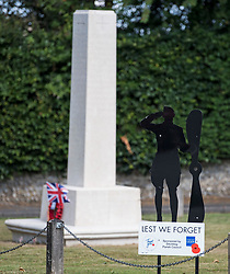 © Licensed to London News Pictures. 10/07/2020. London, UK. A war memorial in the town of Ditchling, East Sussex, ahead of the funeral of Dame Vera Lynn. The 'Forces' Sweetheart', who died last month aged 103, was famous for singing performances during WW2, which helped raise morale amongst troops abroad. Photo credit: Ben Cawthra/LNP