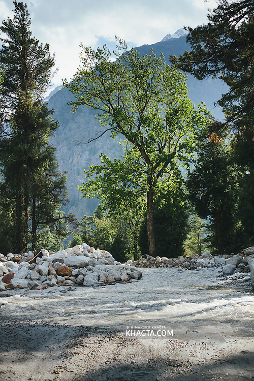 Water flowing on the road at Mastarang, Kinnaur
