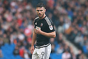 Brentford striker Scott Hogan (9) during the EFL Sky Bet Championship match between Brighton and Hove Albion and Brentford at the American Express Community Stadium, Brighton and Hove, England on 10 September 2016. Photo by Bennett Dean.