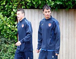 14.09.2010, Trainingsplatz Arsenal, London, ENG, PL, Arsenal Training, im Bild Arsenal's Laurent Koscielny and Arsenal's Marouane Chamakh . EXPA Pictures © 2010, PhotoCredit: EXPA/ IPS/ Kieran Galvin +++++ ATTENTION - OUT OF ENGLAND/UK +++++ / SPORTIDA PHOTO AGENCY