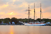 Mystic351021-1025G.Huey ~ Copyright: George H.H. Huey ~ The three masted barquentine,  'Mystic', docked in the Mystic River.   Mystic, Connecticut.