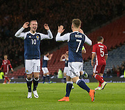 Scotland&rsquo;s Leigh Griffiths congraulates Matt Ritchie on his goal  - Scotland v Denmark, International challenge match at Hampden Park<br /> <br />  - &copy; David Young - www.davidyoungphoto.co.uk - email: davidyoungphoto@gmail.com