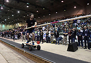 Jan 18, 2019; Reno, NV, USA; Baptiste Boirie,(FRA) rides a skateboard during the UCS Spirit National Pole Vault Summit at the Reno-Sparks  Livestock Events Center.