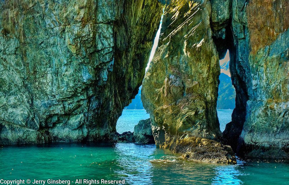 North America, United States, US, Northwest, Pacific Northwest, West, Alaska, Kenai, Kenai Fjords, Kenai Fjords National Park, Kenai Fjords NP. Fascinating Three Hole Point in Kenai Fjords National Park, Alaska.