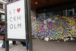 April 14, 2017 - Stockholm, Sweden - Memorials one week after truck terror attack, Stockholm,(Credit Image: © Johan Jeppsson/IBL via ZUMA Press)