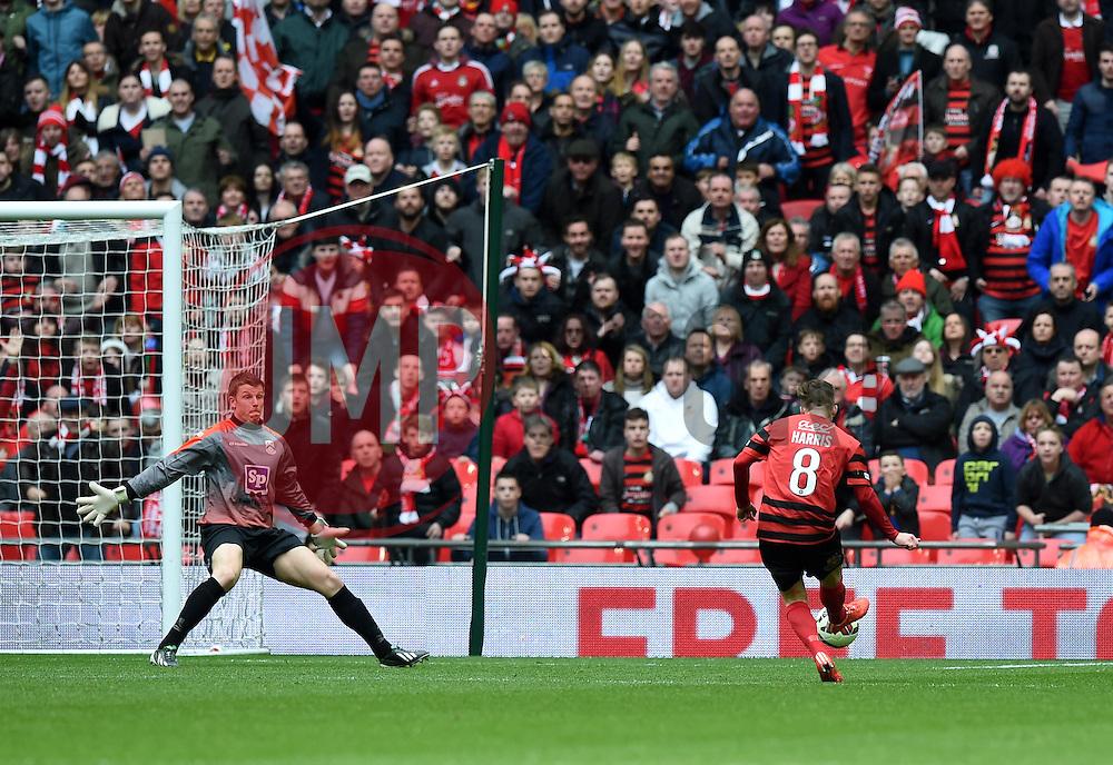 Wrexham's Jay Harris scores against North Ferriby United - Photo mandatory by-line: Paul Knight/JMP - Mobile: 07966 386802 - 29/03/2015 - SPORT - Football - London - Wembley Stadium - North Ferriby United v Wrexham - FA Trophy