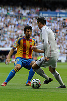 Real Madrid´s Cristiano Ronaldo and Valencia´s Daniel Parejo during 2014-15 La Liga match between Real Madrid and Valencia at Santiago Bernabeu stadium in Madrid, Spain. May 09, 2015. (ALTERPHOTOS/Luis Fernandez)