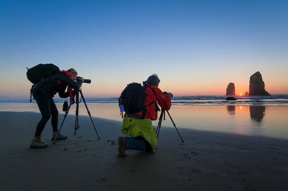 Photographing The Needles at Haystack Rock in Cannon Beach on the northern Oregon Coast.