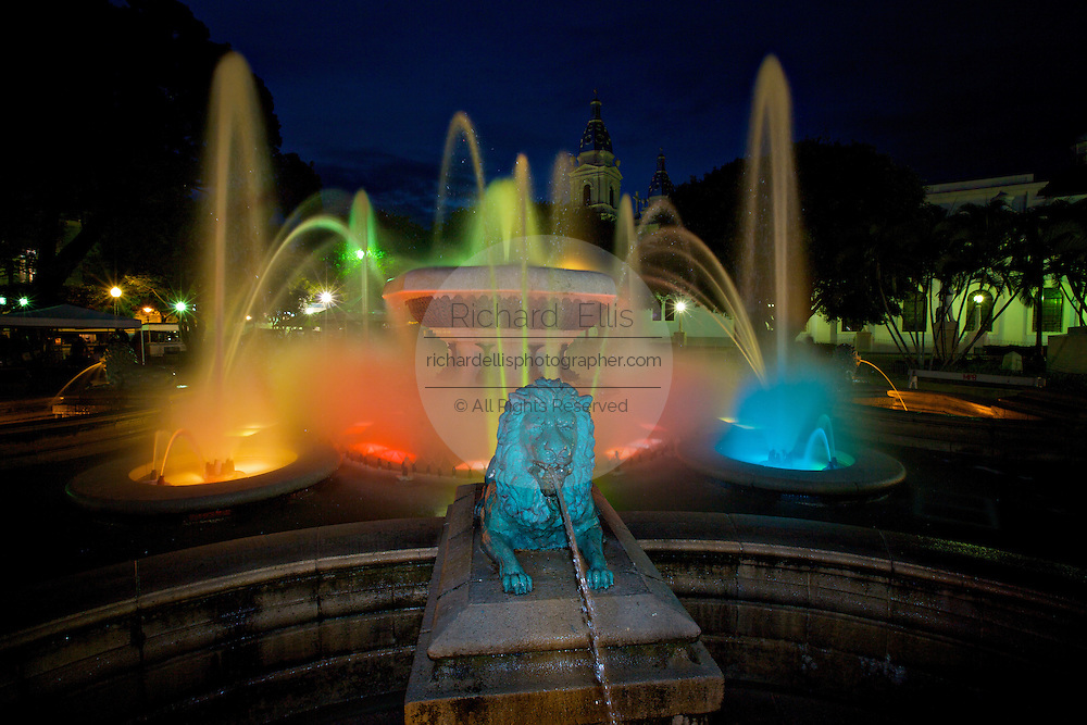 Fountain of the Lions in the Plaza Las Delicias at twilight February 20, 2009 in Ponce, Puerto Rico.