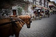 Kalesas on the streets of Vigan.<br />