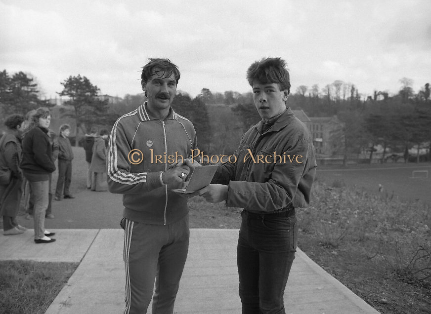 Ireland Soccer Team Training.1983.14.11.1983.11.14.1983.14th November 1983..The Ireland Soccer team trained, for the forthcoming match against Malta, at Stewarts Hospital,Palmerstown Dublin.The entire squad was:..Liam Brady......Brian Cottington.....Gerry Daly....John Devine.....Leo Donnellan.....Tony Galvin.....Tony Grealish.....Ashley Grimes.....Greg Hayes....Chris Hughton....Dennis Irwin.....Patrick Kelch.....Gary Alexander Kelly.....Mark Lawrenson.....Mick Martin......Seamus McDonagh...Edward McGinley.....Brian Mooney.....Kevin Moran......Derek Murray......Liam O'Brien.....Kevin O'Callaghan..David O'Leary..Kenneth Petit de Mange....Paul Power.....Michael Robinson..John Sheridan..Frank Stapleton.....Gary Waddock..Micky Walsh.....Mike Walsh II......Ronnie Whelan