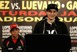 Jan 21, 2010; New York, NY; USA; WBO Champion Steven Luevano speaks at the press conference for his upcoming fight against challenger Juan Manuel Lopez (l).  The two will meet on Saturday at the Theater at Madison Square Garden.