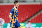 8 Greg Docherty for Shrewsbury Town celebrates their win in front of his fans during the The FA Cup 3rd round replay match between Stoke City and Shrewsbury Town at the Bet365 Stadium, Stoke-on-Trent, England on 15 January 2019.