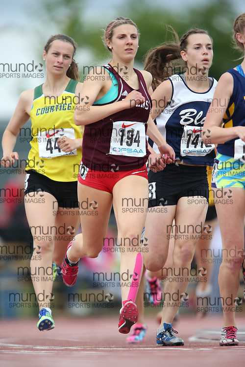 Marissa Codispodi of Bishop Tonnos CHS - Ancaster competes in the 800m heats at the 2013 OFSAA Track and Field Championship in Oshawa Ontario, Thursday,  June 6, 2013.<br /> Mundo Sport Images / Sean Burges