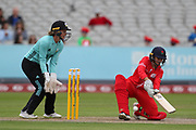 Lancashire Thunders Nicole Bolton ramp shot during the Women's Cricket Super League match between Lancashire Thunder and Surrey Stars at the Emirates, Old Trafford, Manchester, United Kingdom on 7 August 2018.