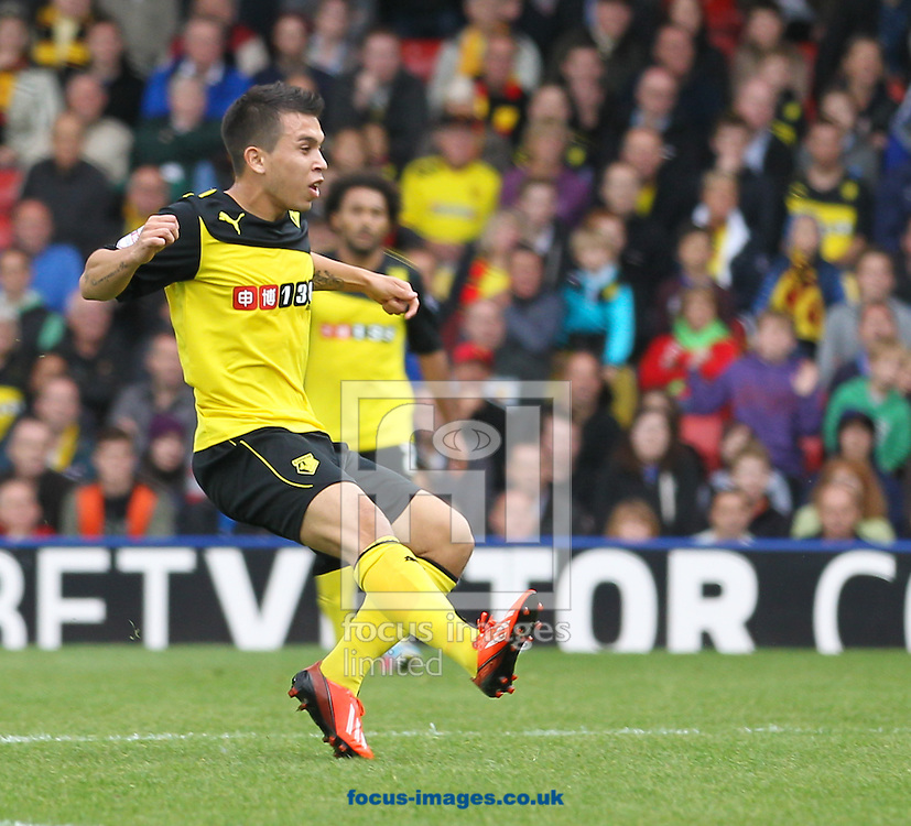 Picture by David Horn/Focus Images Ltd +44 7545 970036<br /> 28/09/2013<br /> Cristian Battocchio of Watford scores his team's first goal during the Sky Bet Championship match at Vicarage Road, Watford.